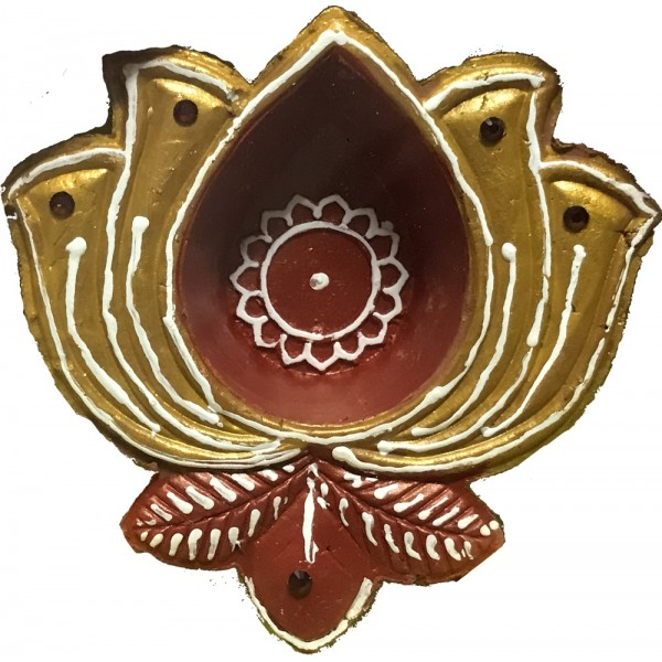 Earthen Flower Diya (4 Pieces)