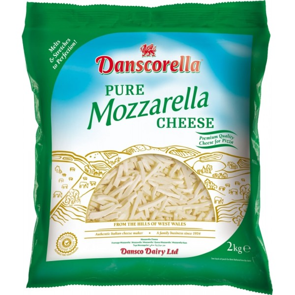 Danscorella Shredded Mozzarella Cheese, 2KG