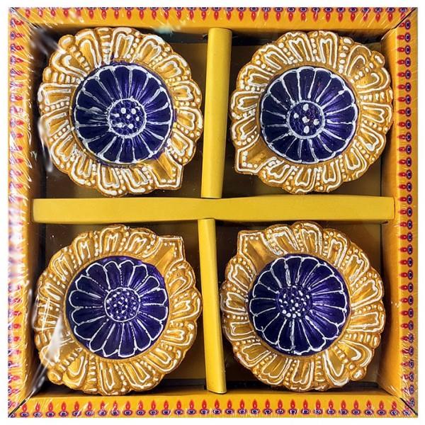 Earthen Diya, 4 Piece Set