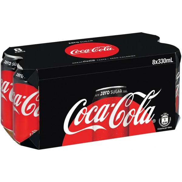 Coca Cola Zero Sugar Free, 330ml x 8