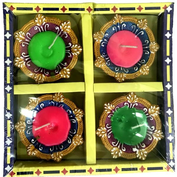 Earthen Candle Wax Diya, 4 Piece Set
