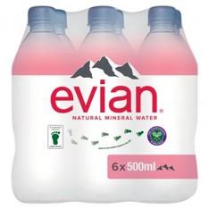 Evian Still Natural Mineral Water, 6 x 500ml