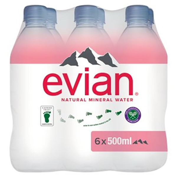 Evian Still Natural Mineral Water, 6 x 500ml