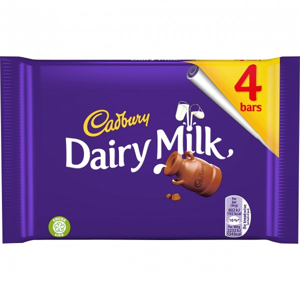 Cadbury Dairy Milk Chocolate Bar, 4 Pack