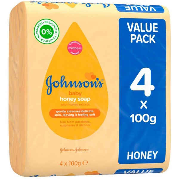 JOHNSON'S Baby Honey Soap, 4 x 100g