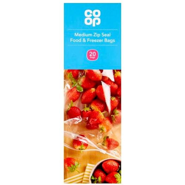 Co-op Medium Zip Seal Food & Freezer Bags, 20s