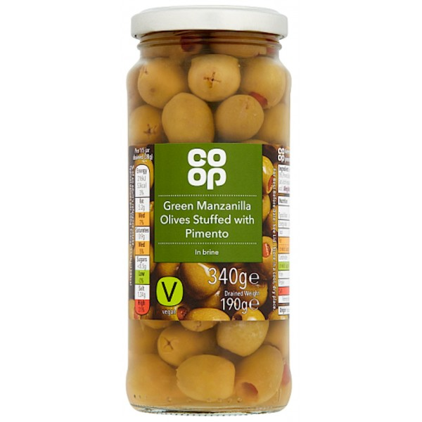 Co-op Green Manzanilla Olives Stuffed with Pimento