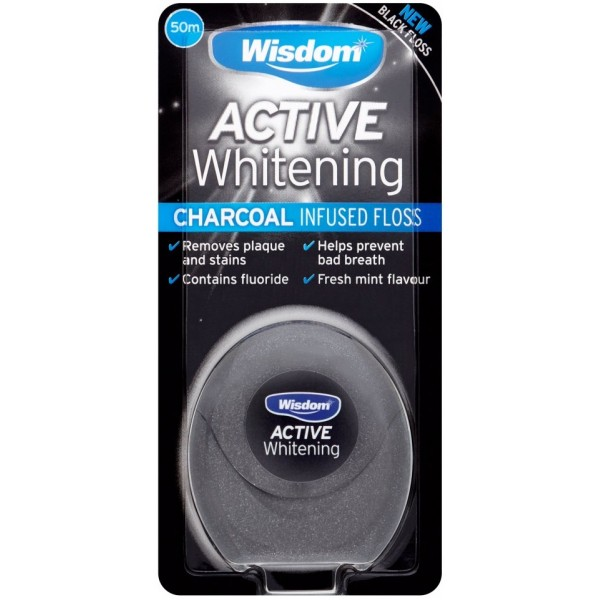 Wisdom Active Whitening Charcoal Infused Black Floss ,50m
